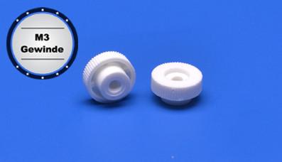 Plastic knurled nut M3 thread approx. Ø 12mm white