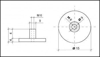Polyamid knurled nut M6 thread, approx. Ø 16mm