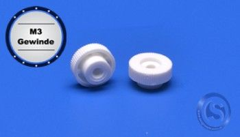 Plastic knurled nut M3 thread approx. Ø 12mm white