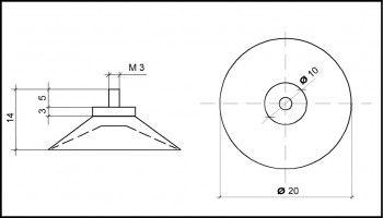 Saugnapf 20mm mit Gewinde M3 5mm