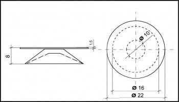 Saugnapf 16mm Durchmesser mit Flansch 22mm