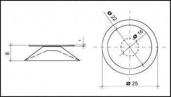 Saugnapf 25mm Durchmesser mit Flansch 22mm
