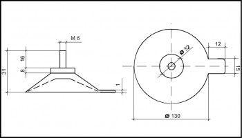 Saugnapf 130mm mit Gewinde M6 (V2A) 16mm schwarz