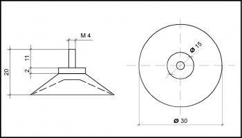 Saugnapf 30mm mit Gewinde M4 (V2A) 11mm