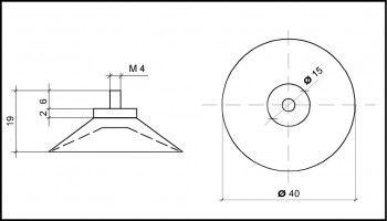 Saugnapf 40mm mit Kunststoffgewinde M4 6mm