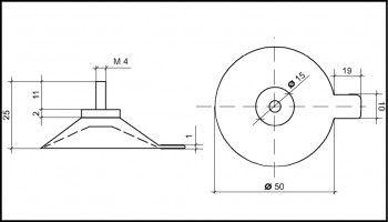 Saugnapf 50mm mit Gewinde M4 (V2A) 11mm und Abhebezunge