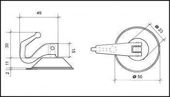 Saugnapf 50mm mit Kipphaken