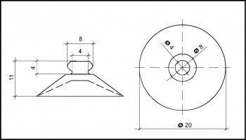 Saugnapf 20mm Durchmesser mit Knopf