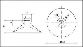 Saugnapf 30mm Durchmesser mit Knopf