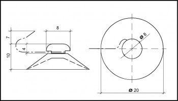 Saugnapf 20mm mit Metallhaken