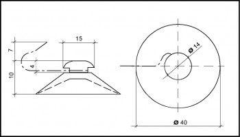 Saugnapf 40mm mit Metallhaken