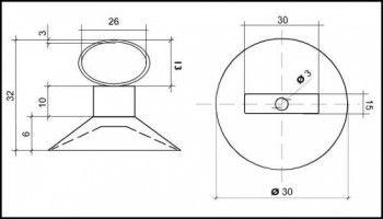 Saugnapf 30mm mit elliptischer Öse 25mmx13mm