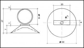 Saugnapf 30mm mit Öse 16mm