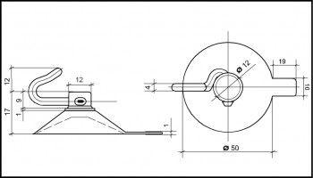 Saugnapf 50mm mit Polycarbonat-Haken und Abhebezunge