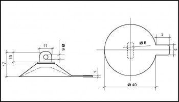 Saugnapf 40mm mit Querloch 6mm