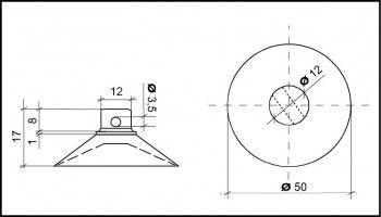 Saugnapf 50mm mit Querloch 3mm