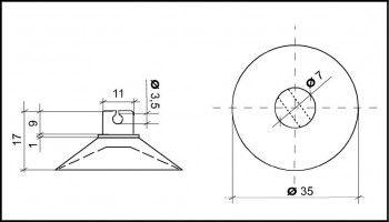 Saugnapf 35mm mit Schlitz und Querloch 3mm
