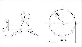 Saugnapf 14mm mit Spitze