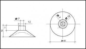 Saugnapf 40mm mit Zylinder