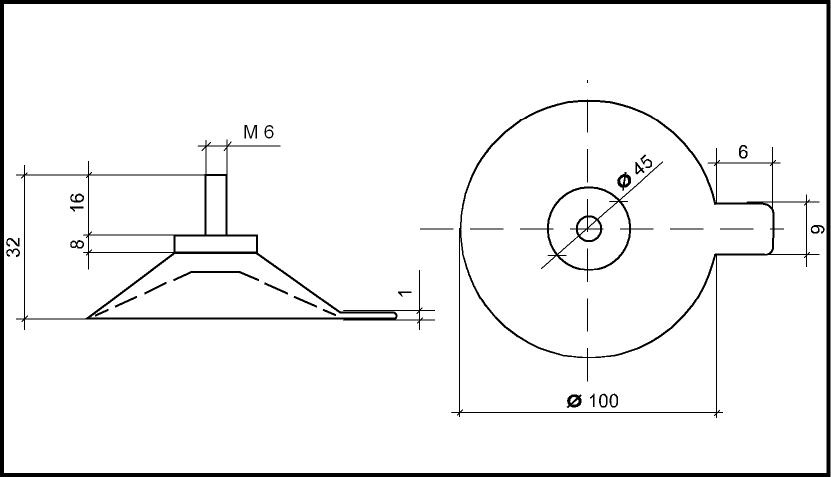 Saugnapf Mit 100mm Durchmesser Und Gewinde M6