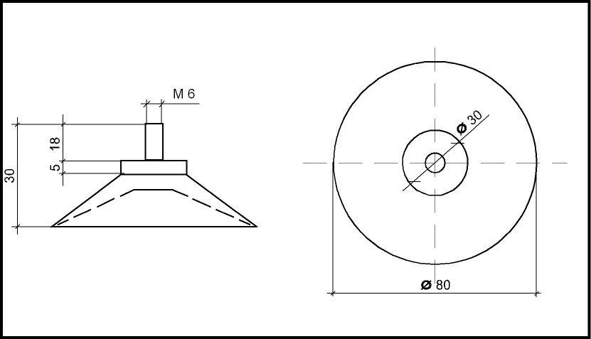 saugnapf 80mm mit gewinde m6 v2a 16mm transparent 1. Black Bedroom Furniture Sets. Home Design Ideas