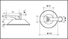 PVC Saugplatte 100mm mit Kipphebel