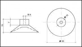 Saugnapf 30mm mit Innengewinde M4