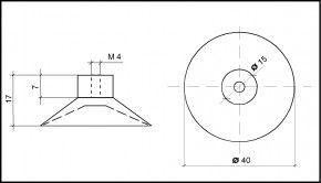 Saugnapf Ø 40mm mit Innengewinde M4