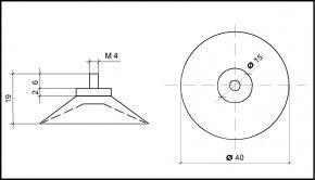 Saugnapf 40mm mit Gewinde M4 (V2A) 6mm