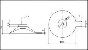 Saugnapf 50mm mit Gewinde M4 (V2A) 6mm und Abhebezunge