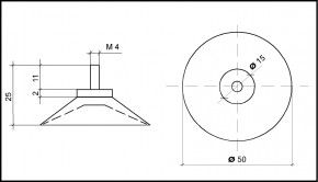 Saugnapf 50mm mit Kunststoffgewinde M4 11mm