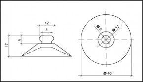 Saugnapf 40mm Durchmesser mit Knopf