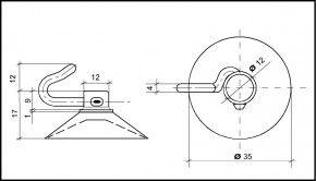 Saugnapf 35mm mit Polycarbonat-Haken