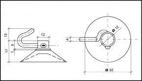 Saugnapf 50mm mit Polycarbonat-Haken