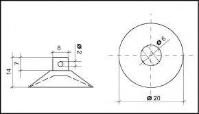 Saugnapf 20mm mit Querloch 2mm