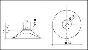 Saugnapf 35mm mit Querloch 3mm