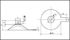 Saugnapf 50mm mit Querloch 3mm und Abhebezunge