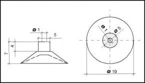 Saugnapf 10mm mit Zylinder