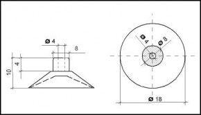 Saugnapf 18mm mit Zylinder